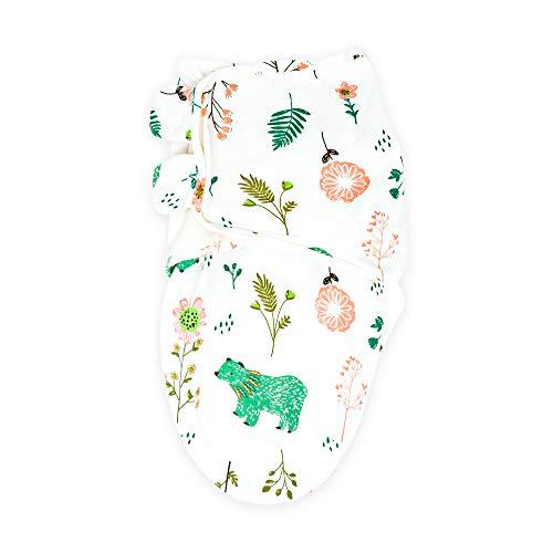 Callowesse © Baby Swaddle Wrap Manta Envolvente. Adecuado para 0-3 m (3,2kg-6,4kg), 100% pañales de algodón 190GSM / 0.5 TOG (Osos & Flores)