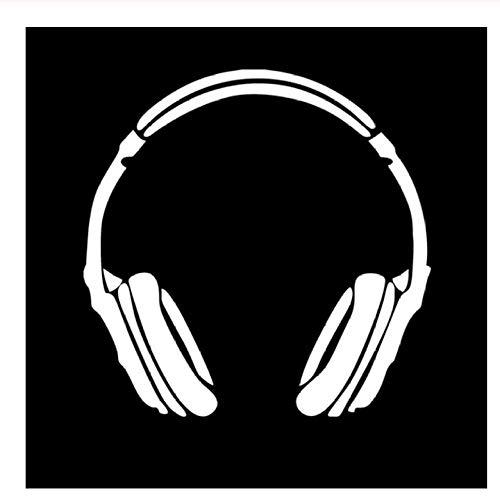 14,5 * 14,5 CM Kopfhörer Musik DJ Decals Aufkleber Auto Windows Logo Dekorative Accessoires Splitter/Schwarz 5PCS