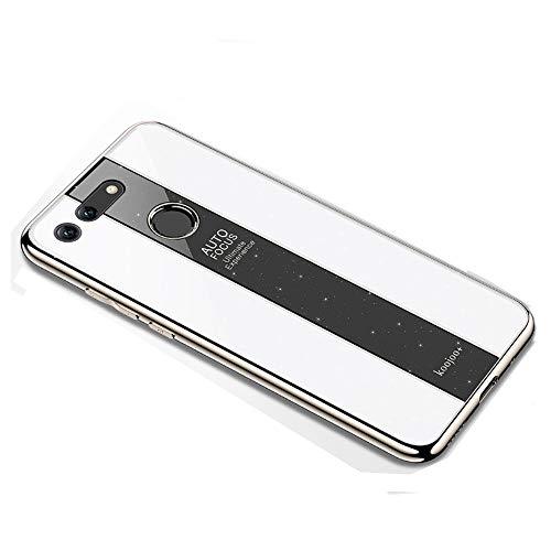 BELLA BEAR Glitter Case voor Huawei Honor View 20 plexiglas + vergulde zachte rubberen aansteker en meer anti-val telefoonhoesje cover voor Huawei Honor View 20, Huawei Honor View 20, Kleur: wit