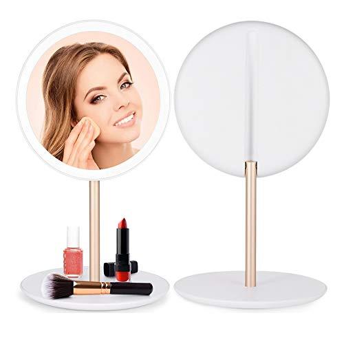 Schminkspiegel Kosmetikspiegel mit Licht Makeup Spiegel Beleuchtung Rund LED badezimmerspiegel Tischspiegel tragbar Taschenspiegel für Schminken Rasieren Reisen,Schlafzimmer,Badezimmer