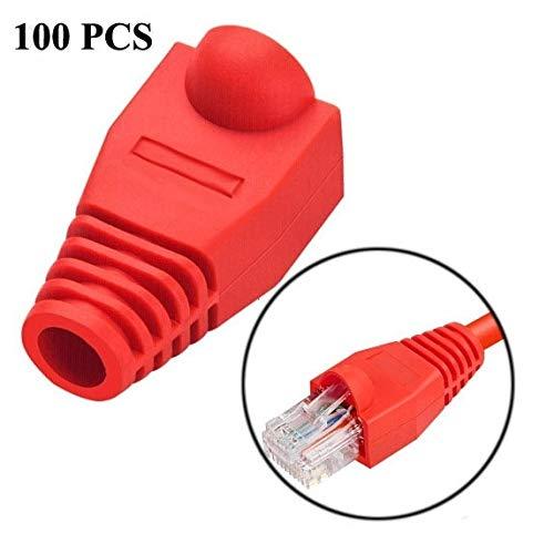 Accesorios de Red LAN por Cable y Herramientas Cable de Red Boot Cover Cap for RJ45, Negro (100 PCS en un Paquete, el Precio es de 100 Unidades) (Color : Red)