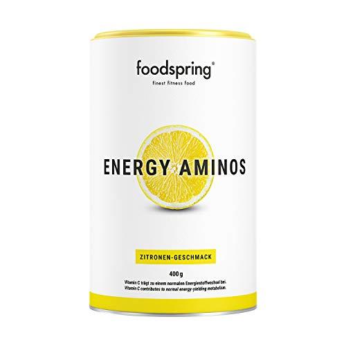 foodspring, Energy Aminos, Zitrone, 400g, Pre-Workout-Booster mit Vitamin C, B3, B12, Koffein, Piperin und veganen BCAAs