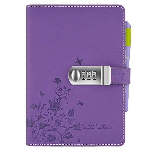 Locked student notebook diary password book-Violet Sardine diario quaderno