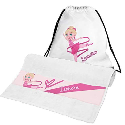 Eurofoto Handtuch + Turnbeutel Set mit Namen Leonora und Tänzerin-Motiv für Mädchen | Handtuch und Turnbeutel Bedruckt |
