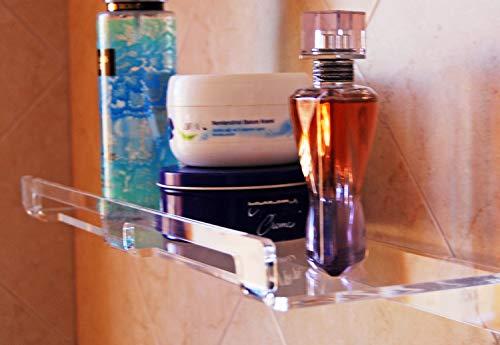 Slato Mensola da bagno a muro porta oggetti dal design moderno in plexiglass trasparente Dione disponibile in tre dimensioni (Grande (50×14 cm))