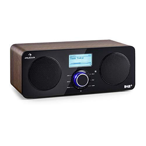 auna Worldwide Stereo - Internetradio, Digitalradio, WLAN-Radio, Netzwerkplayer, DAB/DAB+ Tuner, UKW/MW-Empfänger, RDS, MP3-USB-Port, Sleep-Timer, LCD-Display, Fernbedienung, walnuss…