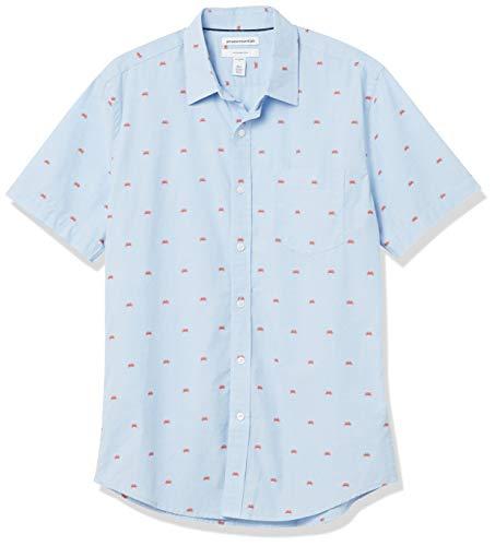 Amazon Essentials Slim-Fit Short-Sleeve Casual Poplin Shirt Camisa, Cangrejo, S