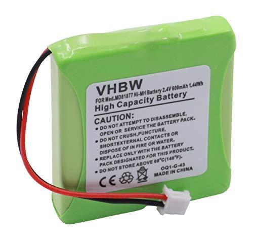 vhbw Akku passend für Medion Life S63022, MD82772, MD82771 schnurlos Festnetz Handy (600mAh, 2.4V, NiMH)