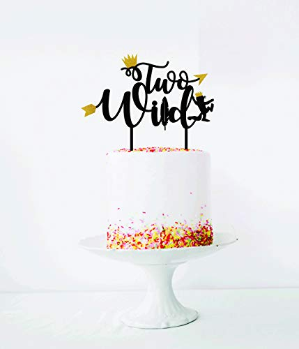 Strange Wild One Birthday Decorations Wild One Two Cake Topper Black Funny Birthday Cards Online Overcheapnameinfo