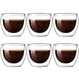 Glass Double-Wall Insulated Coffee Mug, 3oz Mini Drinking Glasses Cups Set of 6, Latte Cappuccino Espresso