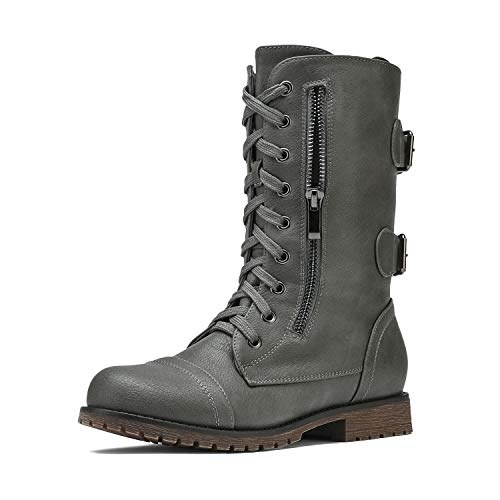 DREAM PAIRS Women's Terran Grey Mid Calf Built-in Wallet Pocket Lace up Military Combat Boots - 8 M US