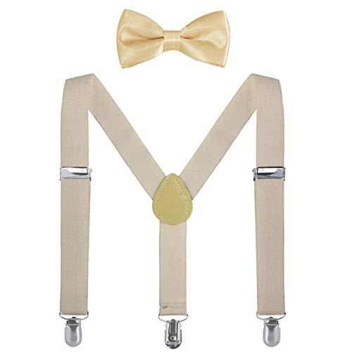 WELROG Conjunto de corbata de moño para niños - Conjunto de tirantes ajustables para niños y niñas