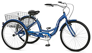Schwinn Meridian Adult Tricycle with 26-Inch Wheels in Blue with Low Step-Through Aluminum Frame Front and Rear Fenders Adjustable Handlebars Large Cruiser Seat and Rear Folding Basket