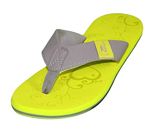 MADSea Damen Zehenstegpantolette Beach Woman Zehentrenner Sandale gelb hellgrau, Größe:40 EU