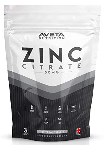 Zinc Citrate 50mg 120 Tablets Pack High Strength Normal Skin, Hair, Nails, Bones, Vision, Immune System and Fertility