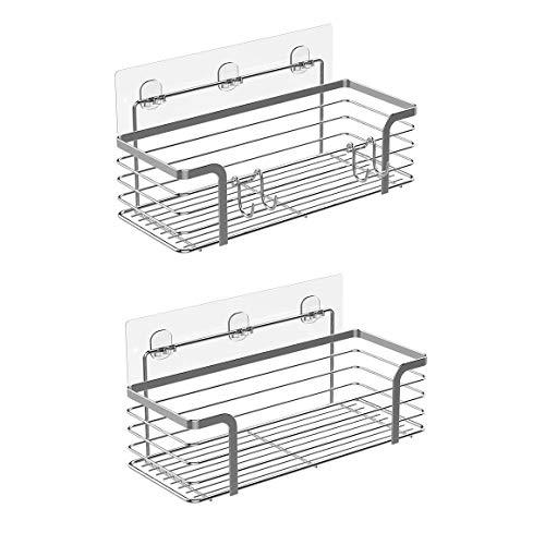 Adhesive Shower Caddy Basket Shelf - Shampoo Conditioner Bathroom Kitchen Storage Organizer SUS304 Stainless Steel No Drilling - 2 Pack