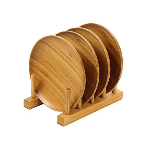 ZH Rangement de cuisine multifonction en bambou avec support pour assiettes - Assiette/Assiette/Bol/Coupe/Couvercle de casserole/couvercle de support de séchage Support pour support