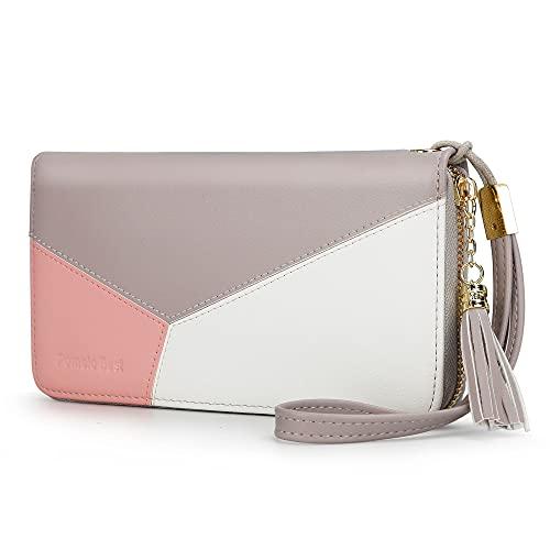 Pomelo Best Damen Geldbeutel Groß lang Portmonee mit Handyfach, Handschlaufe RFID-Blocker Geldbörse für Frauen (Grau Rosa)