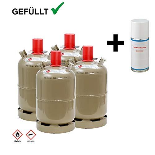 CAGO 4 x Propan-Gas-Flasche 11 kg gefüllt, voll, inkl. Lecksuchspray für Camping, Gasgrill, Gaskocher