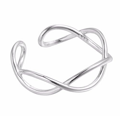 iszie Zehenring im Unendlichkeits-Design, aus Sterlingsilber, verstellbar, für Damen
