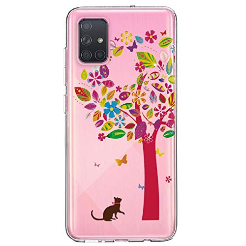 Zater hoes compatibel met Samsung Galaxy A71, transparant doorzichtig beschermhoes Crystal Clear TPU Siliconen Ultra Thin Case Cover Phone Case voor Samsung Galaxy A71 lila slingers veer