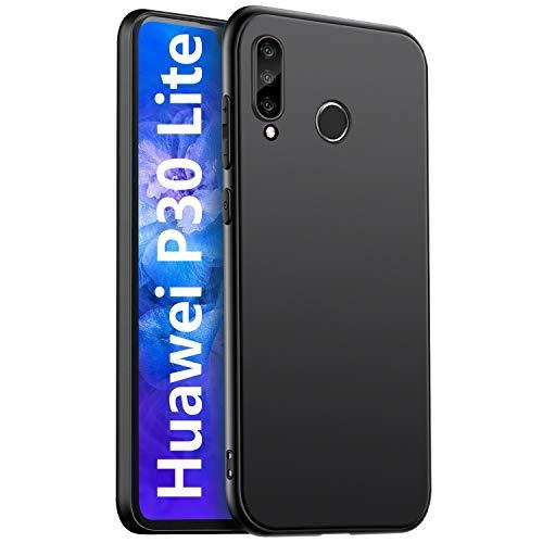 Custodia per Huawei P30 Lite, Huawei P30 Lite, custodia in silicone di colore nero e setoso per tutto il corpo, Huawei P30 Lite, antigraffio