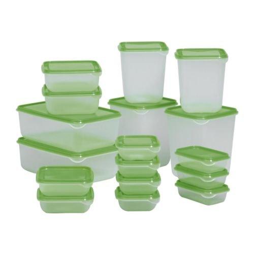 IKEA Pruta Frischhaltedosen aus Kunststoff mit grünem Deckel, 17 Stück