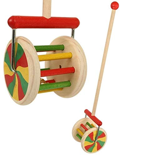 UN JEU DES JOUETS - Jouet d'éveil en bois bébé bâton avec roue cage grelot Jouet à pousser enfant 1+
