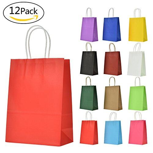 LivDeal 12 Stück Papiertüten aus Kraftpapier Geschenktüten mit Henkel Kindergeburtstag Mitgebsel Tüten für Partys, Hochzeiten, Feiern und Süßigkeiten, ca 16 x 22 x 8 cm, farbig Sortiert