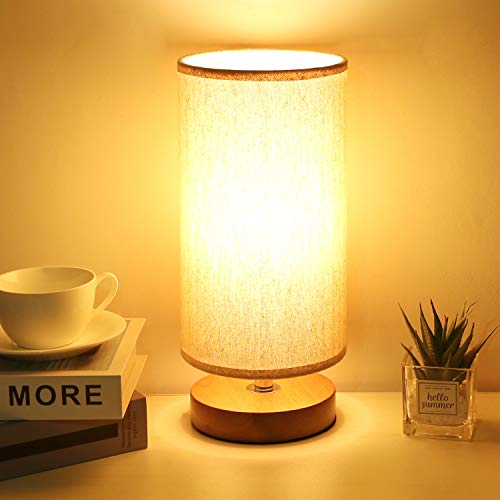 Round Bedside Table Lamp, Kakanuo Minimalist Solid Wood Nightstand Lamp, Round Bedside Simple Desk Lamp with Fabric Shade for Baby Room, Kids Room, Living Room