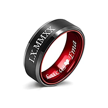 Lerchphi Rings for Men Fashion Custom Tungsten Carbide Wedding Bands Black and Red Promise Rings for Him Engraved Name Comfort Fit 8mm Size 10