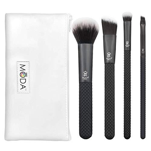 MODA Royal & Langnickel Pro Lot de 5 pinceaux de maquillage avec pochette comprenant : poudre multi-usages, fond de teint angulaire, ombre bombée et pinceau eye-liner angulaire Noir