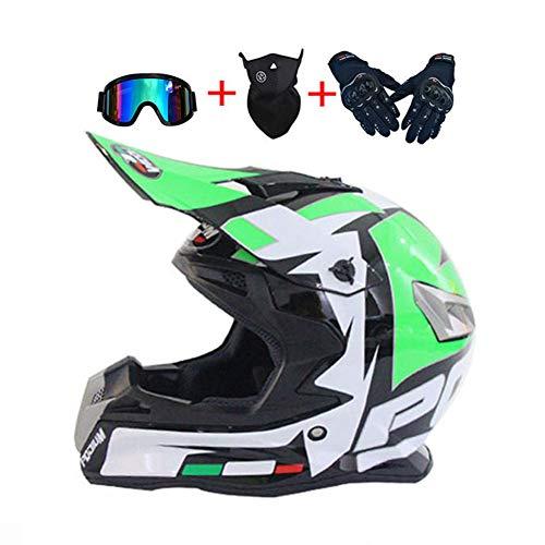 LEENY Casco de Motocross, Verde/Blanco/Negro Casco de Cross de Moto con Gafas/Guantes/Máscara,...