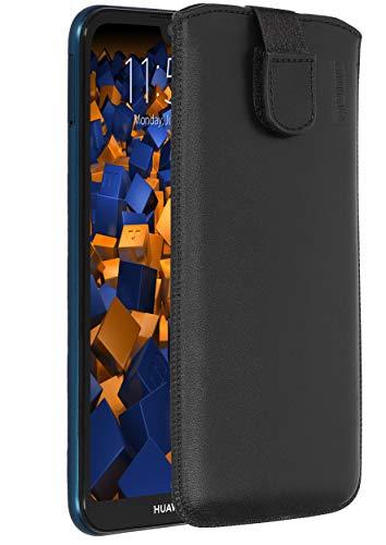mumbi Echt Ledertasche kompatibel mit Honor 8S / Huawei Y5 2019 Hülle Leder Tasche Hülle Wallet, schwarz