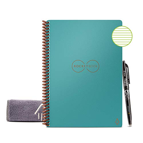 Rocketbook Smart Reusable Notebook - Lined Eco-Friendly Notebook with 1 Pilot Frixion Pen & 1 Microfiber Cloth Included - Neptune Teal Cover, Executive Size (6' x 8