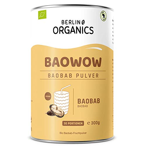 Bio Baobab Pulver Berlin Organics - vom Affenbrotbaum - Vitamin C - Ballaststoffe - 100% Bio, Roh, Vegan - Wildsammlung