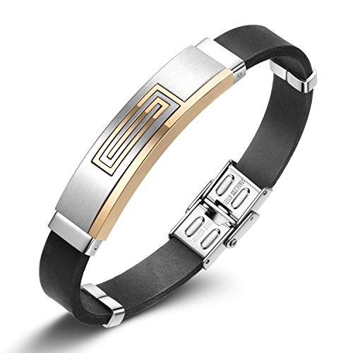 Notting Hill Herren Mode Armband Schwarz Gummi Armreifen Armbänder Unisex Silikon Wickel Armband mit Titan Stahl Verschluss Herren Zubehör, Schmuck Geschenkbox