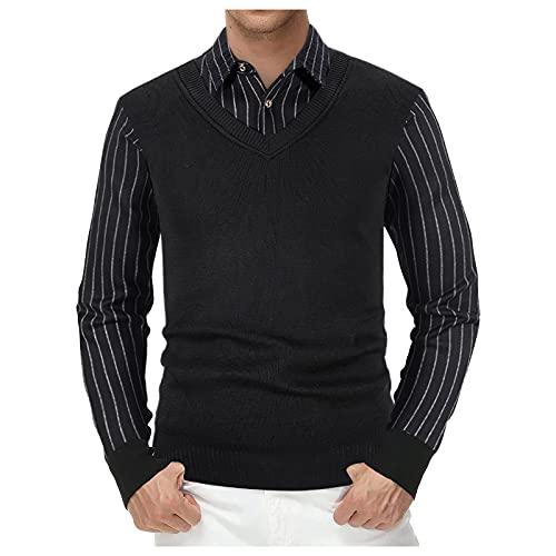 Taurner Camisa Falsa de 2 Piezas Tops Pullover Otoño Invierno Long Sleeve con Cuello Suéter Delgado...