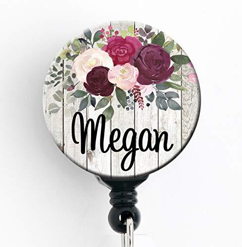Retractable Badge Reel - Burgundy Rose Floral - Personalized Name - Badge Holder/Nurse Gift/Teacher Gift/Stocking Stuffer