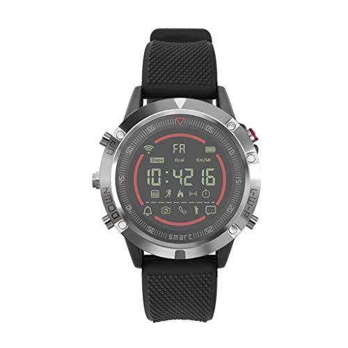 CAOQAO Reloj Inteligente Hombre Smartwatches Fashion IT152 Ritmo cardíaco Presión Arterial Sueño Monitoreo SmartWatch Podómetro Rastreador (Plateado)