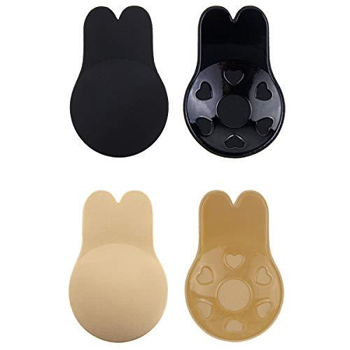 Jennary Klebe BH Push Up,Unsichtbarer Brust Lift Up Adhesive Nippel Cover Bra für Trägerloser Rückenfrei Abendkleider Beinhaltet (A/B, Schwarz+beige)