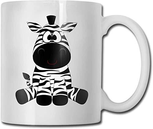 Taza de café blanca de cerámica única de cebra de dibujos animados, taza de té para oficina, hogar, diversión, novedad, regalo, taza de bebida divertida de 11 oz para hombres y mujeres