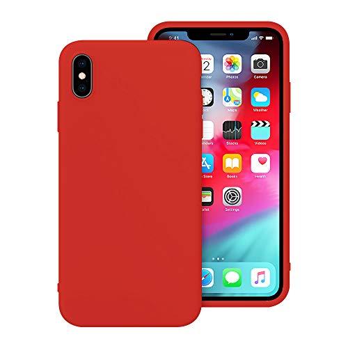 iPhone X Case, iPhone Xs Case, Anti-Scratch Cases for iPhone X/XS, Silicone iPhone X/XS Cases with Microfiber Cloth Cushion Lining (Red)