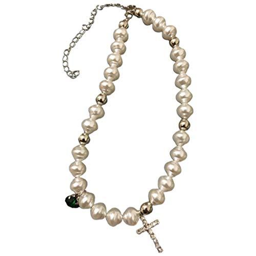 follwer0 Collar de perlas de imitación irregular, collar con colgante de cruz de cristal, regalo de cumpleaños