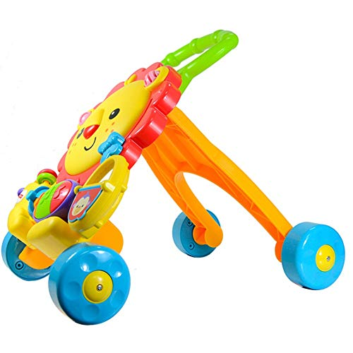 Wangxiaoxia-Baby Trotteur Stable Early éducation Puzzle bébé Pousser Walker Lion Chariot avec Son et lumière Step Helper avec Fun Jeu Toy Cadeau pour Bébé (Couleur : Jaune, Taille : 44x37x50cm)