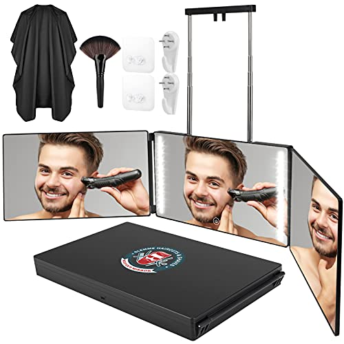 3 Way Mirror for Self Hair Cutting 360° Mirror with LED Lights, Trifold Self Haircut Mirror Rechargeable with Height Adjustable