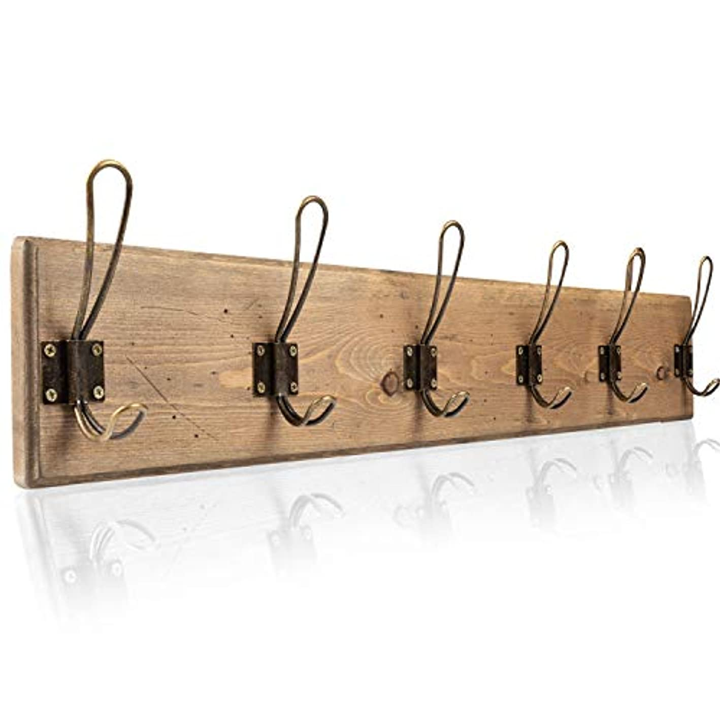 Wall Mounted Coat Rack - Rustic Wooden 6 Hook Coat Hanger Rail, Distressed Wood, Antique Brass Hooks
