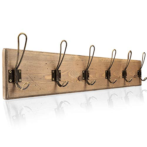 Wall Mounted Coat Rack - Rustic Wooden 6 Hook Coat Hanger Rail, Distressed Wood, Antique Brass Hooks