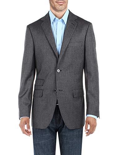 DTI BB Signature Men's Two Button Birdseye Suit Jacket Modern Fit Blazer Coat (36 Short US / 46S EU, DK Gray)