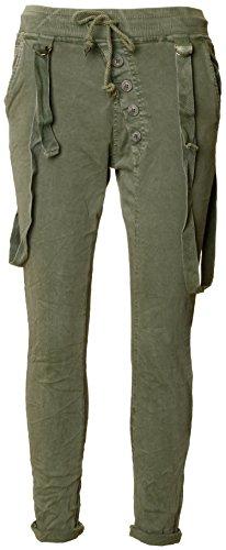 Basic.de Jogging-Hose mit Kordel und Zierträgern Khaki XS